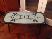 VINTAGE RETRO MID CENTURY ATOMIC 50S GREY PATTERNED GLASS TOP COFFEE TABLE
