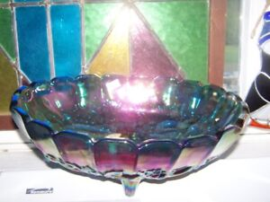 Blue Indiana Carnival Glass Harvest Grape  Fruit Compote Bowl