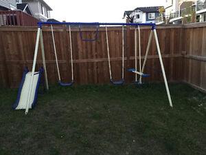 Outdoor swing / slide set