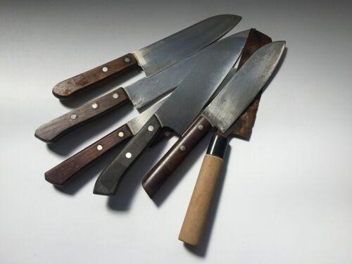 V1027 Japanese Kitchen Knife Assorted Vintage Signed 6pc Santoiu Nakiri Handle