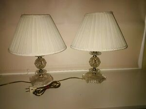 PERFECT PAIR DAINTY CUTGLASS TABLE LAMPS WITH SHADES