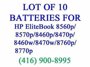 LOT OF 10 X GENUINE HP Battery for 8560p/8570p/8460p/8470p/8460w/8470w/8760p/8770p Batteries Original