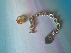 Silver Bracelet and silver ring with gem stone