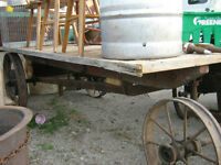 old steel wheel trailer