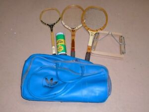 Vintage / Classic 1970's wood squash & tennis rackets, press and