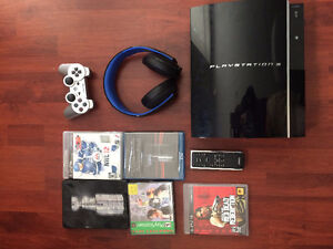 PS3 with 56 games, wireless headset, wireless controller more