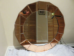 Mirror with Pink Decorative Trim