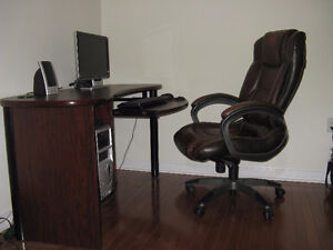Leather chair and computer table