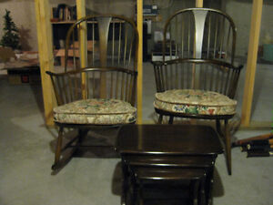 ERCOL ELM ROCKER AND DOUBLE BOW BACK CHAIR
