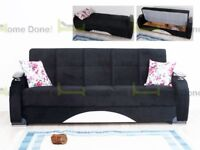 **14-DAY MONEY BACK GUARANTEE!** Zultan Turkish Fabric Luxury Sofabed with Storage in 2 colours