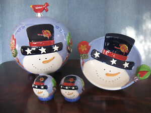 Snowman Cookie Jar, S & P Shakers & Bowl