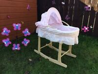 Pink Moses basket & stand