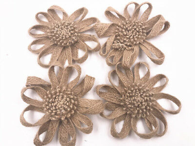 NEW 12CM Burlap Flowers Fabric Decoration bow Wedding decor Hair DIY 1pcs](Burlap Flowers Diy)