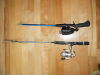 2 cannes et moulinets a peche, 2 fishing rods and reels