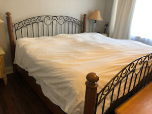 King Size Wood and Wrought Iron Bed