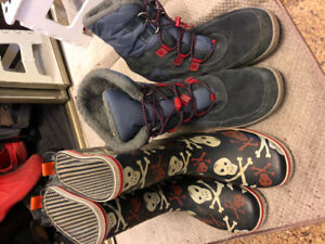 Size 5 youth rain boots and winter boots.