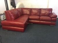 Red real Italian leather primo left hand side chaise end corner sofa 5-6 seater cherry L shape