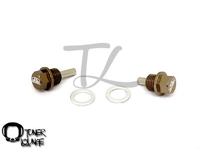 BLOX RACING GOLD 14X1.5MM ENGINE OIL PAN AND TRANSMISSION DRAIN PLUG SET EG DC