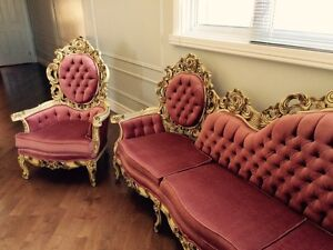 Baroque Pink Velvet sofa with chair **REDUCED**