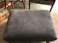 Large corduroy grey foot pouffé/seat/stool