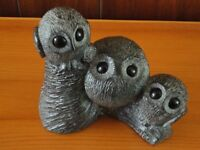WOLF SCULPTURES MOM & BABY OWLS FIGURINE