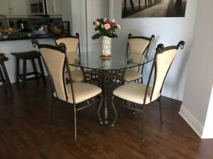 Wrought Iron Glass Dining Room Table and Chairs