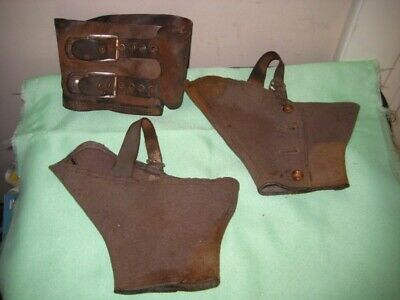 Spats, Gaiters, Puttees – Vintage Shoes Covers 3 Pcs. WW1 ARMY BOOT Shoe Felt/Wool DRESS SPATS 2 +  Leather Double Strap  $19.99 AT vintagedancer.com