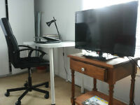 Desk with Lamp and Office Chair