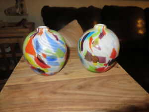 Two Crate & Barrel round vases - like new