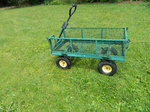 Sturdy Metal Utility Garden Cart-Pull or Attach to Small Tractor