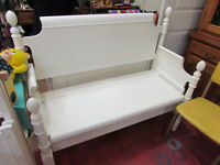 BENCH REPURPOSED FROM ANTIQUE BED FRAME
