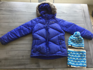 Youth Columbia Winter Coat. Hat and neck warmer set