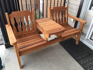Two seat CEDAR BENCH with mid-table