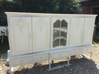 French rococo ivory painted sideboard unit