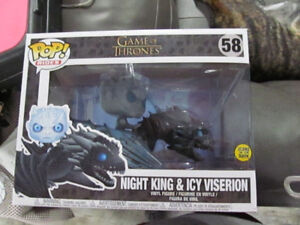 Funko Pops Game of Thrones Night King and Icy Viserion, Jon Snow