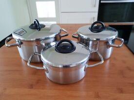 Set of 3 Schulte-Ufer saucepans