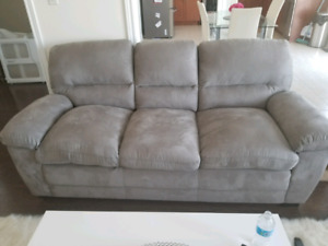 Brand new grey microsuede couch