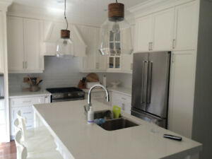$15K Remodel Fancy Kitchen with Custom Cabinets & Quartz Counter