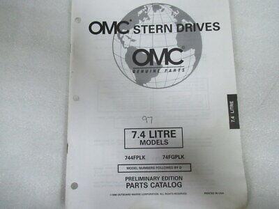 1997 OMC Stern Drives 7.4L Models Prelim Edition Parts Catalog Manual P/N 988226