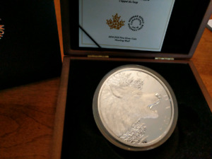 2014 $125 Fine Silver Coin Howling Wolf (RCM)
