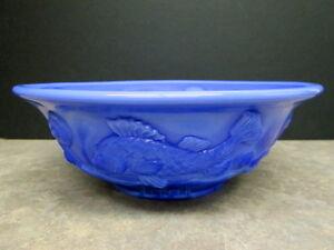 Fenton art glass large periwinkle blue atlantis fish bowl for Large glass fish bowl