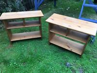 Two bedside tables solid wood up cycle £10 Ono