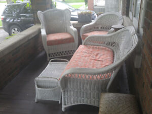 Beautiful 4 pce Real Wicker White Porch Set