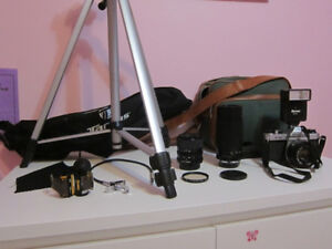 Pentax K1000 35mm Film Camera; w/ Lenses, Flash, Film, Tripod