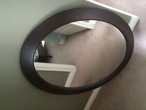 Solid Wood Oval Mirror
