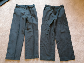 Pair of boys Age 9 grey school trousers (adjustable waist)
