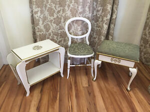 Matching Bench Storage Seat, Magazine Table and Chair