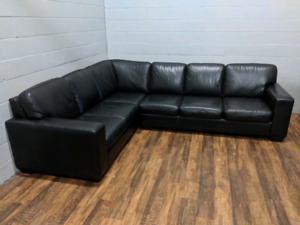 (Free Delivery) - Black top-grain leather sectional