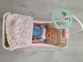 Baby born wet and cry baby & cot bed.