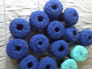 100% cotton yarn 12 x50gm balls of royal blue and two turquoise.